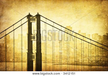 Grunge Image Of Golden Gate Bridge, San Francisco, California