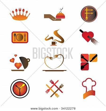 Hotel, Resort And Restaurant Industry Related Food And Logo Icons