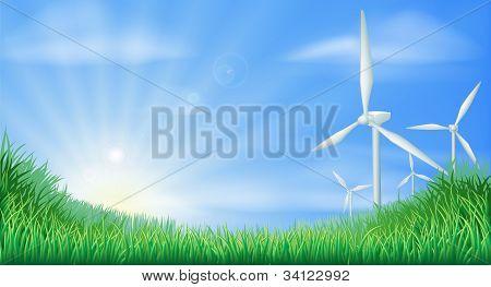 Ilustración de paisaje de turbinas de viento