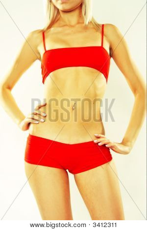 Woman In Red Active Wear