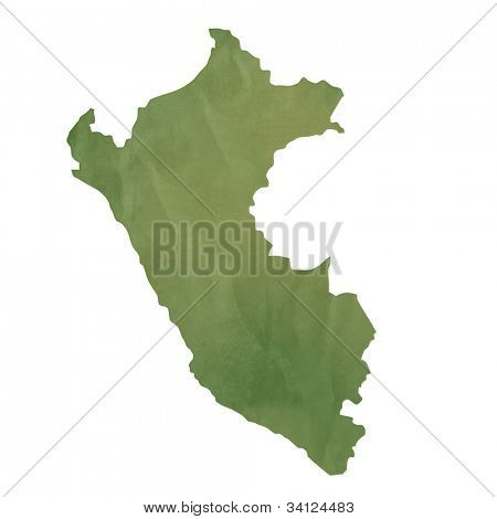 Old green paper map of Peru isolated on white background