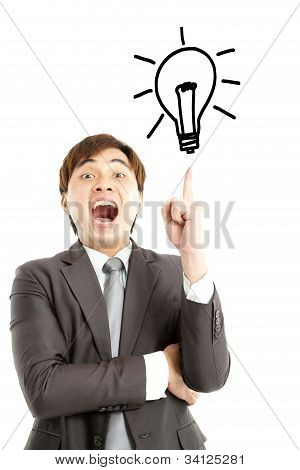 I got the idea. businessman with bulb and idea concept