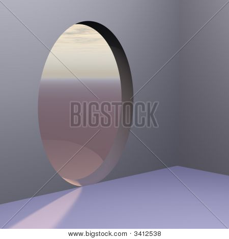 Corner Oval Abstract Door