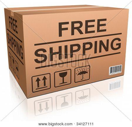 Orden envío libre de la tienda, el concepto de caja de cartón para entrega de paquete de comercio electrónico de tienda online web fr
