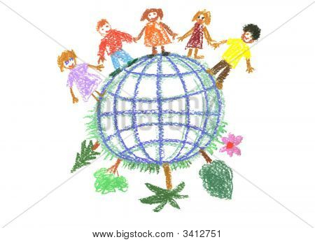 Child'S Drawing With Globe
