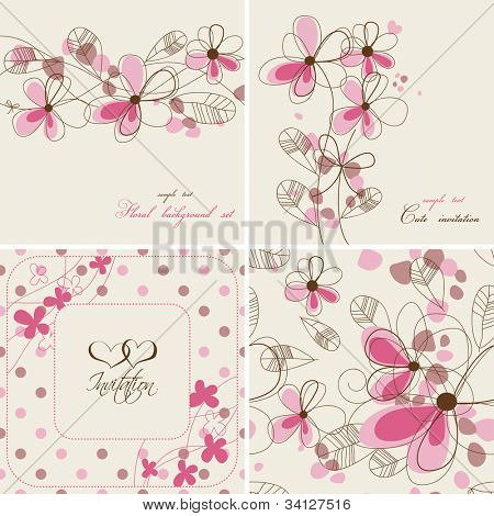 Vector floral cards and seamless patterns