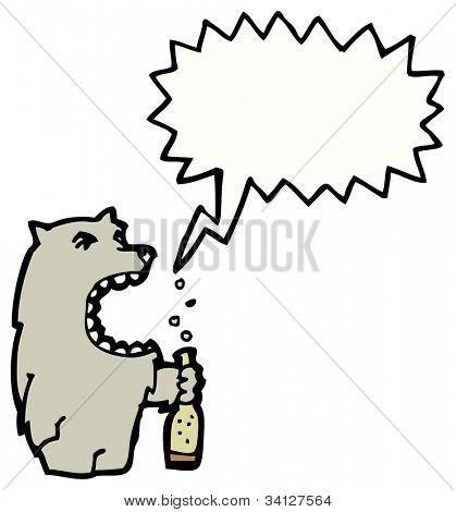 cartoon wolf drinking beer