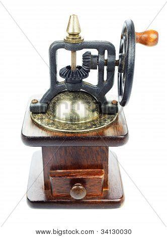 Manual Vintage Old Grinder For Coffee, Barley Isolated On White