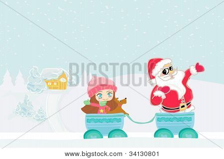 Happy New year card with Santa, sweet girl and winter landscape