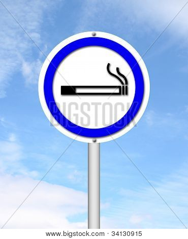 Smoking Area Sign With Blue Sky