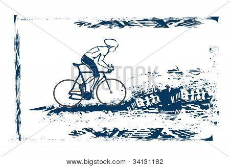 Cycling sport Grunge Poster Template , vector illustartion
