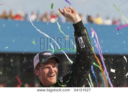 BROOKLYN, MI - JUN 17, 2012:  Dale Earnhardt, Jr. (88) breaks his four year losing streak with winning the Quicken Loans 400 at the Michigan International Speedway in Brooklyn, MI on June 17, 2012.
