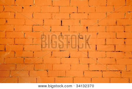 brickwall pattern texture in orange color background