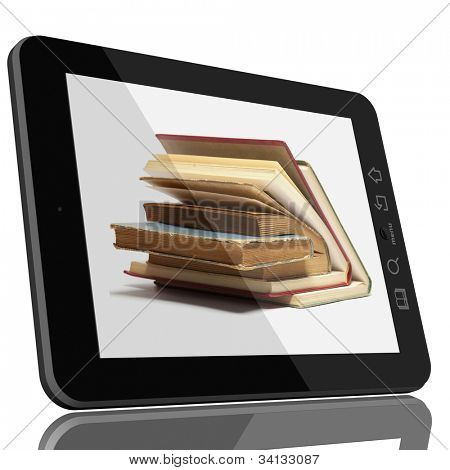 Book and teblet computer 3D model isolated on white, digital library concept