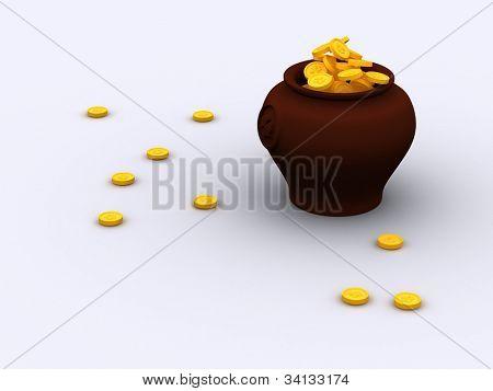 3d patrick luck pot gold