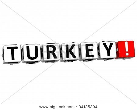 3D Turkey Button Click Here Block Text