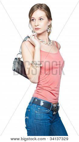 Beautiful woman with bag