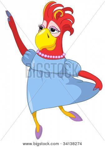 Cartoon Character Funny Wife Parrot Isolated on White Background. Vector EPS 10.