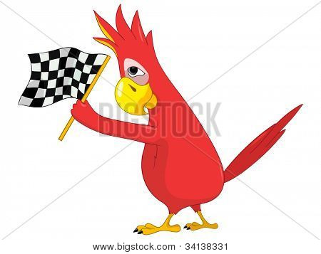 Cartoon Character Funny Parrot Isolated on White Background. Racing. Vector EPS 10.