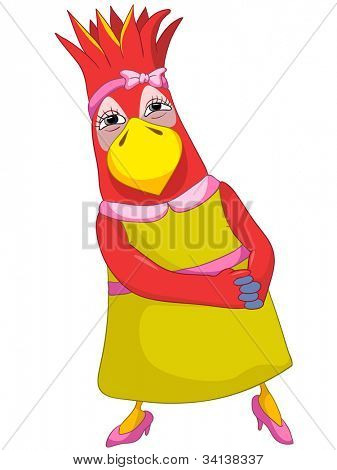 Cartoon Character Funny Parrot Isolated on White Background. Wife. Vector EPS 10.