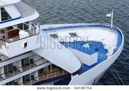fore of passenger cruise ship ,  view from above