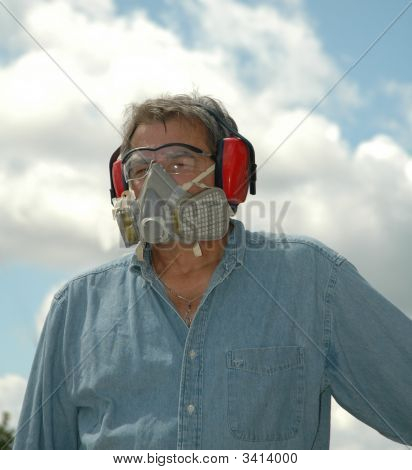 Blue Collar Worker Wearing Protective Gear
