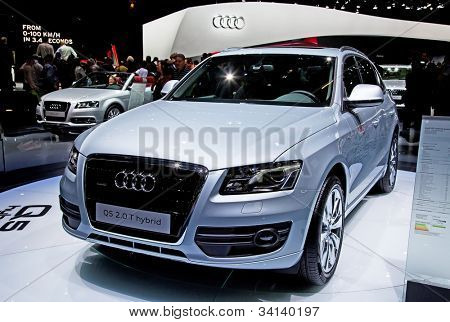 GENEVA - MARCH 8: Audi Q5 Hybrid on display at the 81st International Motor Show Palexpo-Geneva on March 8; 2011  in Geneva, Switzerland.
