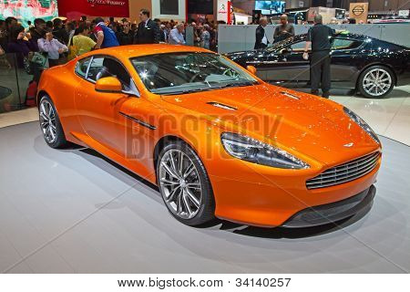 GENEVA - MARCH 8: The Aston Martin Virage on display at the 81st International Motor Show Palexpo-Geneva on March 8; 2011 in Geneva, Switzerland.