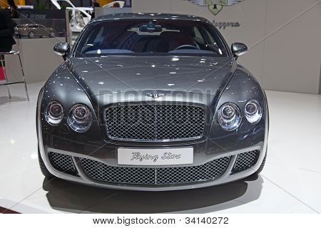 "GENEVA - MARCH 8: The new Bentley Continental ""Flying Star"" on display at the 81st International Motor Show Palexpo-Geneva on March 8, 2011 in Geneva, Switzerland."
