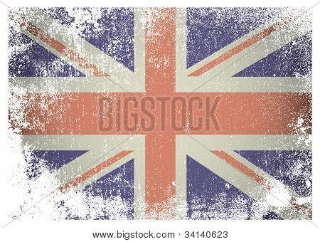 Bandera británica con grunge envejecido fondo ideal efecto
