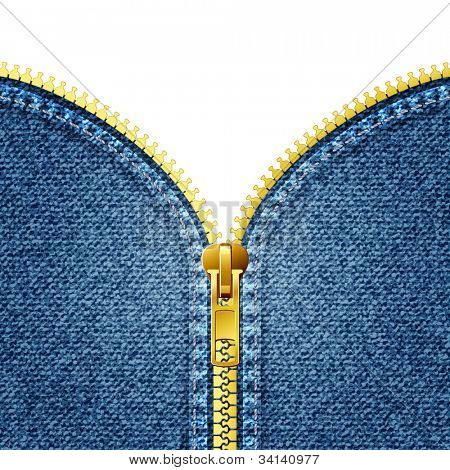 Zipper open on denim texture. Jeans. eps10
