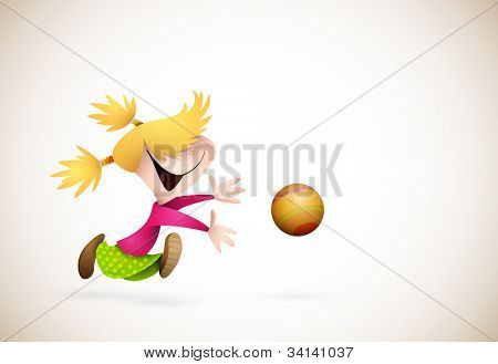 Little Girl PLaying Handball