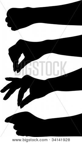 illustration with human hand silhouettes isolated on white background
