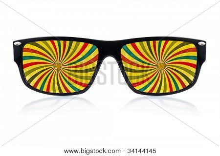 Trendy sunglasses with a colorful psychedelic illustration where  the lenses should have been isolated on white