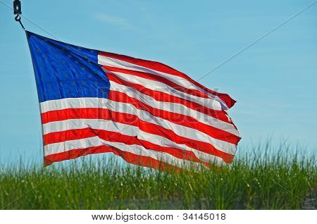 Old Glory in the wind