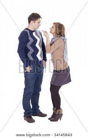 Girl shaking her finger - I am warning you