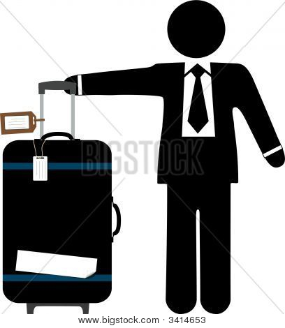 Business Traveler Man & Suitcase Luggage Tags