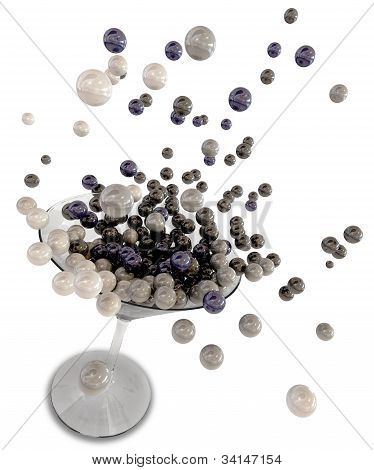 Martini Glass Splashing Glossy Spheres