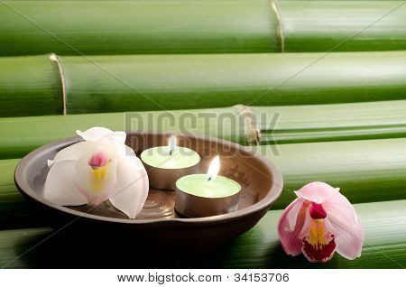 Orchid and candle