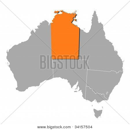 Map Of Australia, Northern Treeitory Highlighted