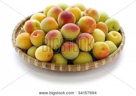 ripe japanese apricot fruits