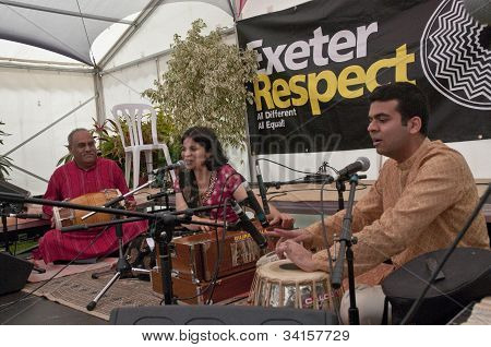 Classical Indian singer Pooja Angra performing live in the Acoustic Cafe at the Exeter Respect Festi
