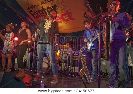 The Afro-Funk band Bronzehead performing live in the World Big Top