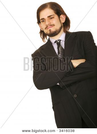 Handsome Business Man Folding Hand And Thinking