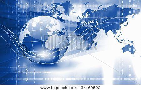 Planeta terra e tecnologia de fundo com objetos de computador
