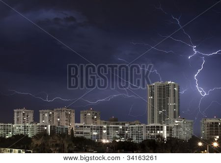 Lightning Bolt In Sky