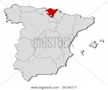 Map Of Spain, Basque Country Highlighted