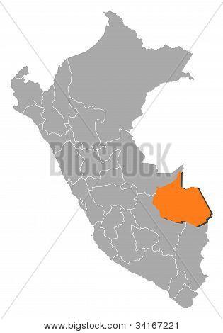 Map Of Peru, Madre De Dios Highlighted