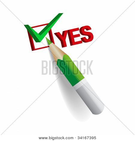 Yes Outline By Green Pencil
