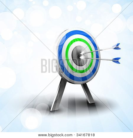 Targets with hitting darts on abstract blue background. EPS 10.